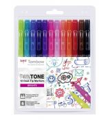 Tombow TwinTone 12 Dual-Tip Markers - Brights