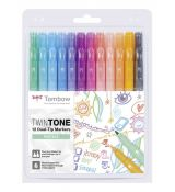 Tombow TwinTone 12 Dual-Tip Markers - Pastels